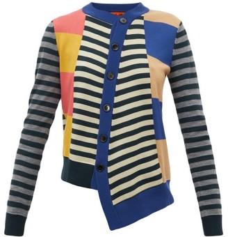 Colville - Asymmetric Striped Wool Cardigan - Womens - Multi