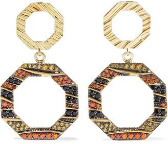 Noir 14-karat Gold-plated Crystal Earrings