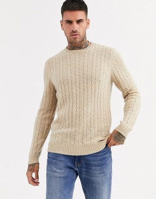Asos Design DESIGN lambswool cable knit sweater in tan