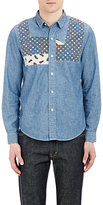 Visvim Men's Mixed-Print Patches Granger Shirt-LIGHT BLUE