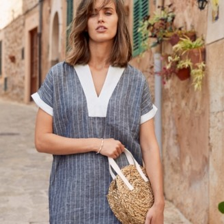The White Company Linen Stripe T-shirt Dress, Indigo, 4