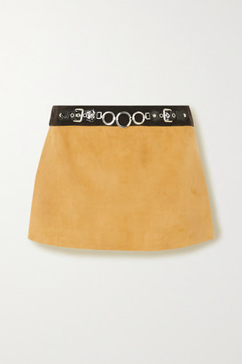 Miu Miu Embellished Leather-trimmed Suede Mini Skirt - Yellow