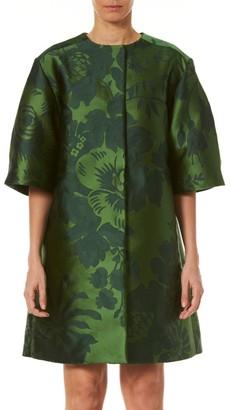 Carolina Herrera Wide-Sleeve Floral Jacquard Coat