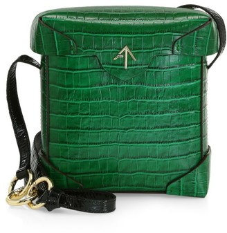 MANU Atelier Mini Pristine Croc-Embossed Leather Box Bag