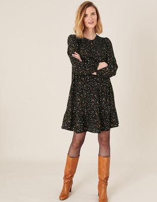 Monsoon Spot Print Tiered Dress with LENZING ECOVERO Black