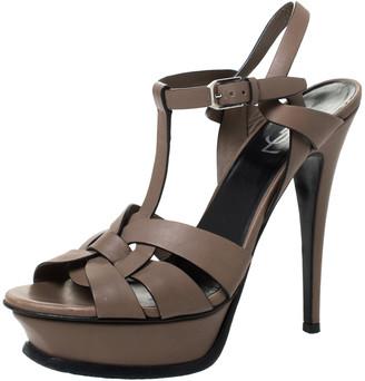 Saint Laurent Paris Brown Leather Tribute Ankle Strap Platform Sandals Size 38.5