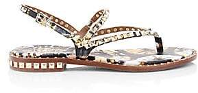 Ash Women's Peps Studded Floral-Print Leather Flat Sandals