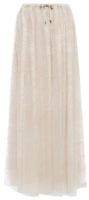 Brunello Cucinelli Embroidered Tulle Maxi Skirt