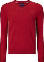 Gant Lightweight Cotton V-neck Jumper, Fire Red