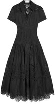 Zimmermann Winsome Cotton-gauze And Lace Midi Dress - Black