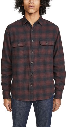 Faherty Vintage Twill Shadow Plaid Flannel Shirt