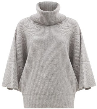 Givenchy Roll-neck Ribbed Cashmere Sweater - Grey