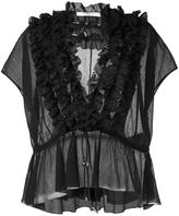 Givenchy ruffle placket semi-sheer blouse - women - Silk/Cotton - 36