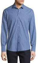 Zachary Prell Printed Long-Sleeve Woven Shirt, Navy