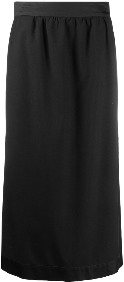 Dries Van Noten Pre-Owned 1990s Contrasting Pleat Midi Skirt
