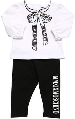 Moschino PRINTED COTTON JERSEY L/S TOP & LEGGINGS