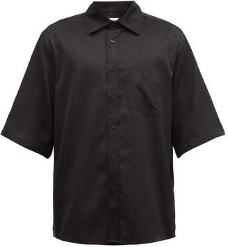 Marine Serre Point-collar Cotton-poplin Shirt - Black