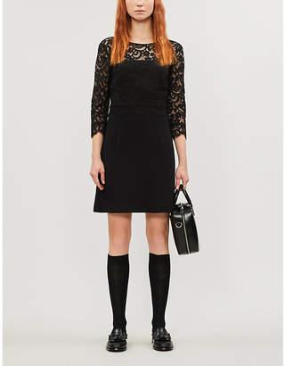 Claudie Pierlot Floral-lace and crepe mini dress