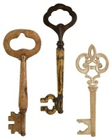 Aurora Wood Skeleton Key Decorative Wall Sculpture - Set of 3