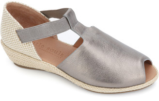 Gentle Souls By Kenneth Cole Luci T-Strap Metallic Leather Wedge Sandal