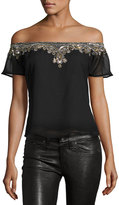 Romeo & Juliet Couture Embellished Off-the-Shoulder Blouse, Black