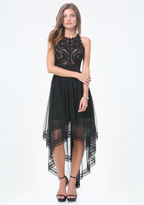 Bebe Embroidered Tulle Dress