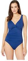 Lauren Ralph Lauren Beach Club Solids Twist Over the Shoulder Underwire One-Piece (Indigo) Women's Swimsuits One Piece