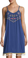Neiman Marcus Braided Shoulder Embroidered Tank Dress