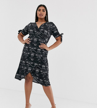 Pink Clove midi dress with tie sleeves in scenic print