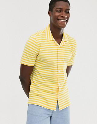 Benetton jersey button down short sleeve shirt-Yellow