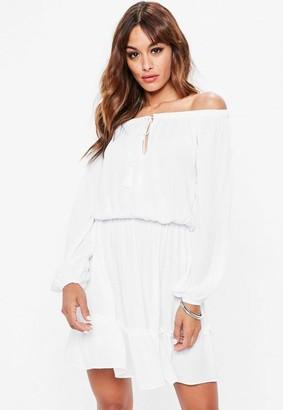 Missguided Tall White Bardot Tassel Skater Dress
