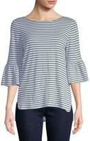 Max Studio Women's Flare-Sleeve Striped Top