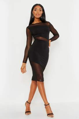 boohoo Sheer Mesh Detail Bodycon Midi Dress