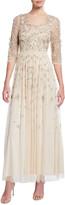 Aidan Mattox 3D Beaded Bodice 3/4-Sleeve Gown