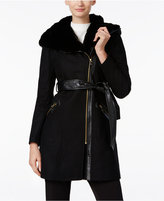 Via Spiga Mixed-Media Faux-Fur Trim Hooded Walker Coat