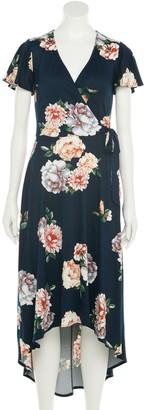 Iz Byer Juniors' Surplice High-Low Maxi Dress