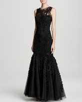 JS Collections Gown - Chiffon Soutache Mesh Mermaid Hem