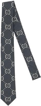 Gucci Logo Print Blend Wool & Silk Tie