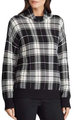 Ralph Lauren Plaid Funnel-Neck Sweater