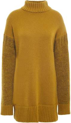 Pringle Paneled Cashmere And Wool-blend Turtleneck Sweater