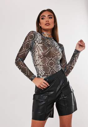 Missguided Jordan Lipscombe X Grey Snake High Neck Mesh Bodysuit