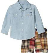 Polo Ralph Lauren Shirt, Belt Shorts Set (Infant) (Light Wash) Boy's Active Sets