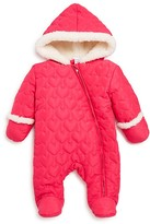 Absorba Infant Girls' Faux Fur Lined Heart Quilted Pram Suit - Sizes 0-9 Months