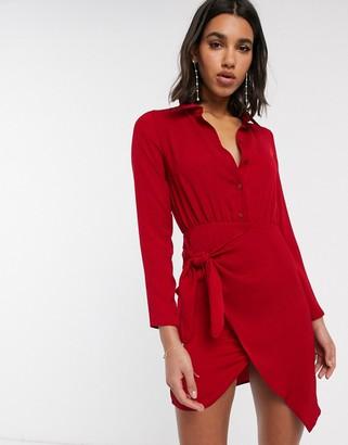 ASOS DESIGN mini shirt dress with tie skirt