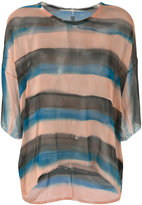 Raquel Allegra striped sheer T-shirt - women - Silk - 0