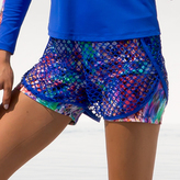 Luli Fama Gorgeus Chaos Fishnet Overlay Shorts In Multi-Color (F509H01)