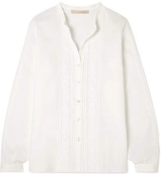 Vanessa Bruno Maggie Crocheted Lace-trimmed Cotton Blouse - White