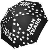 Hipster Umbrellas Funny Quotes Man Tears with Rain Drops Cheap Folding Travel Umbrella, Sun/Rain Compact Parasol Umbrella