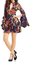 C/Meo Gossamar Ruffle Bell Sleeve Printed Fit and Flare Dress