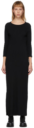 Yohji Yamamoto Black High-Slit Long Sleeve Dress